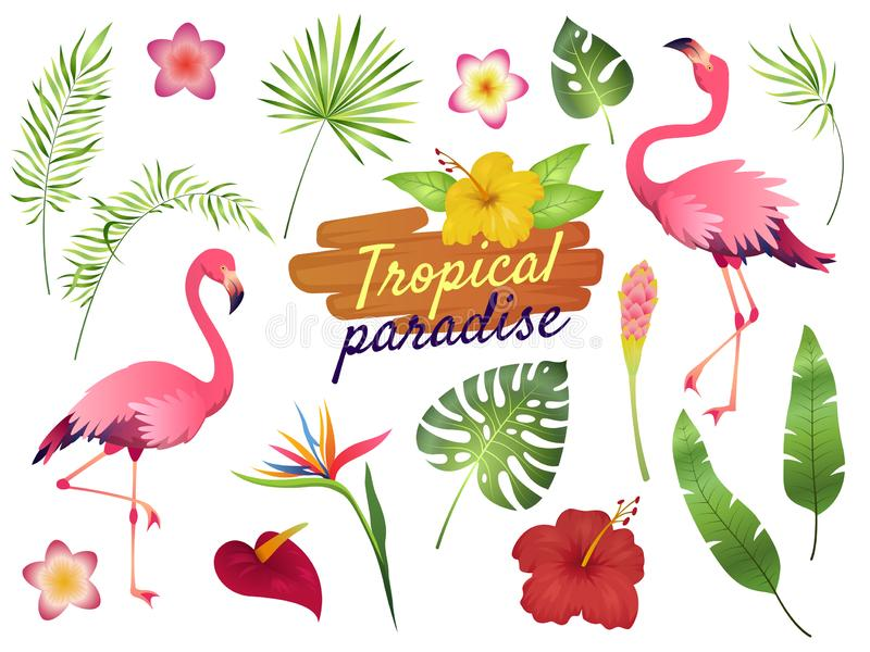 Tropical flamingos. Pink flamingo jungle flowers palm leaves, nature, summer beach, cute exotic plants flora cartoon stock illustration