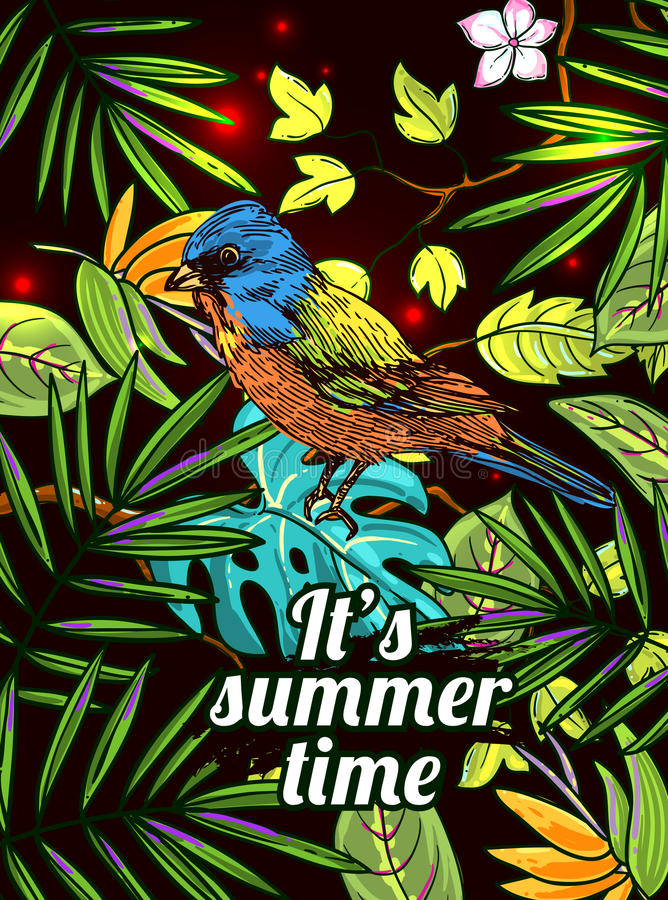 Tropical floral background with animal. Tropical floral background with animal bird. Drawing by hand. It is summer time. Good for print for t-shirt, card royalty free illustration