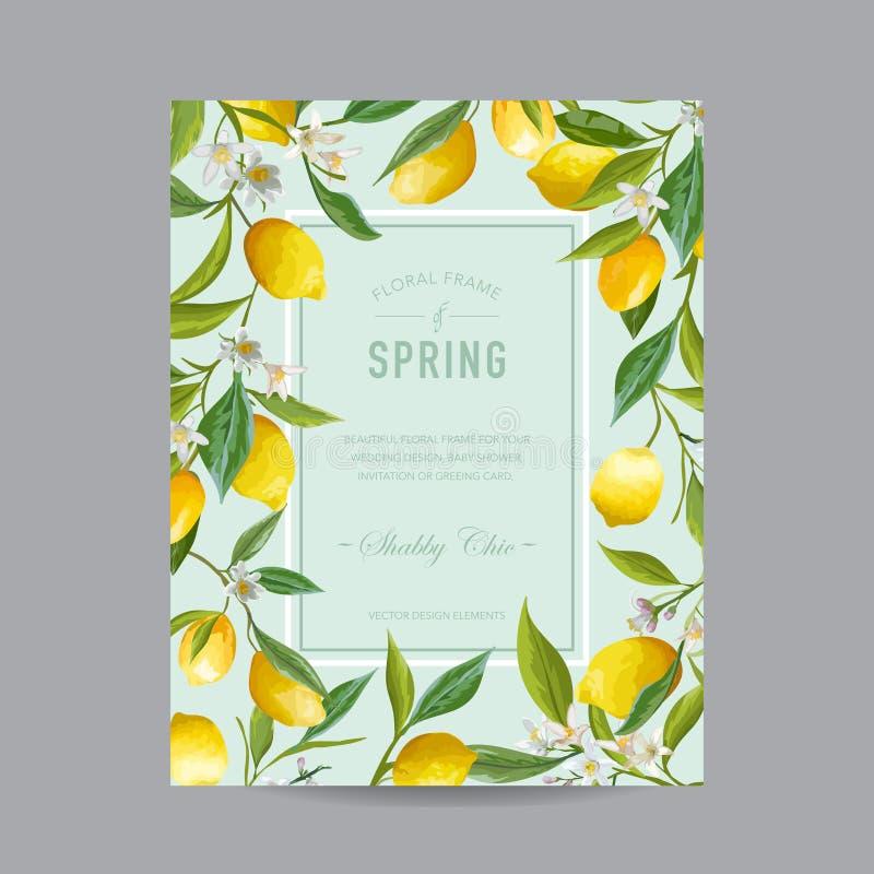 Tropical Floral Colorful Frame - for Invitation, Wedding, Baby Shower vector illustration