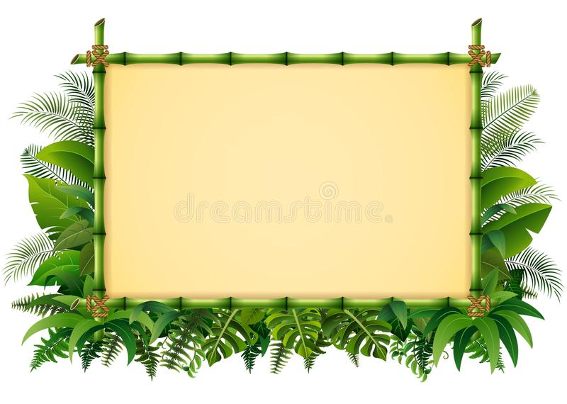 tropical floral design background with green bamboo frame stock rh dreamstime com