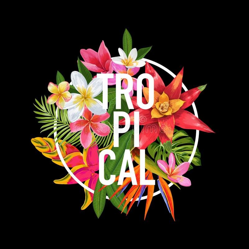 Tropical Floral Design for T-shirt, Fabric Print. Exotic Plumeria Flowers Poster, Background, Banner. Beach Vacation vector illustration