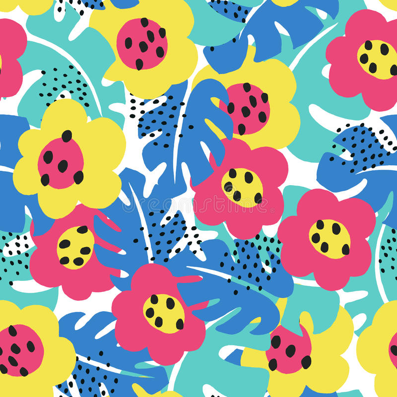 Free Tropical Floral Pattern Stock Photography - 96112902