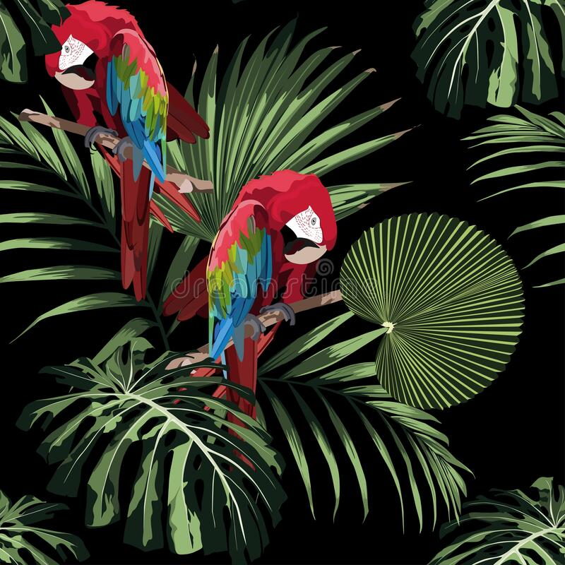 Free Tropical Floral Print. Parrot Bird In The Jungle In The Dark Exotic Forest, Seamless Pattern For Fashion. Royalty Free Stock Photos - 173967198