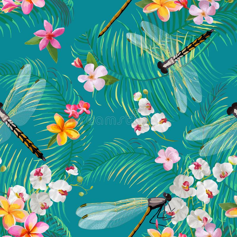 Tropical Floral Seamless Pattern with Dragonflies. Botanical Wildlife Background with Palm Tree Leaves and Exotic Flowers vector illustration