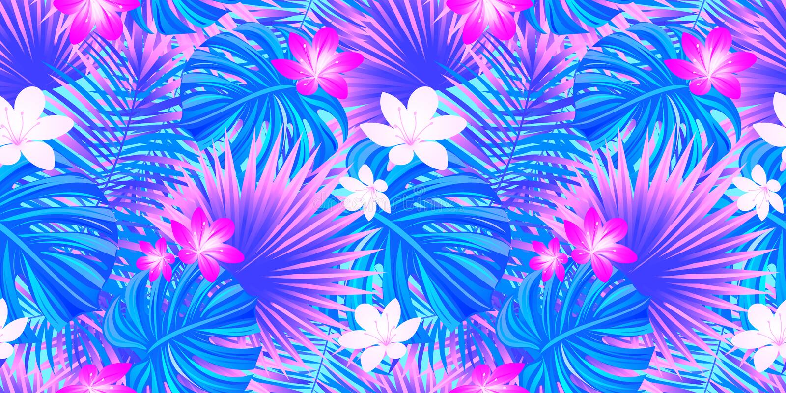 Tropical floral seamless pattern. rainforest in a bright colors. Magical tropic vector illustration. jungle background stock illustration