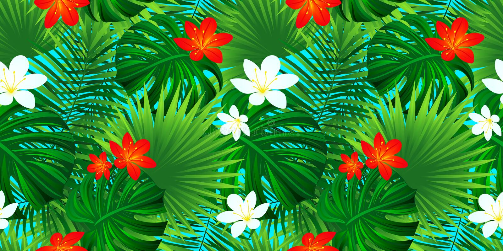 Tropical floral seamless pattern. Template flowers texture. exotic background with palm leaves, monstera leaf, jungle vector illustration