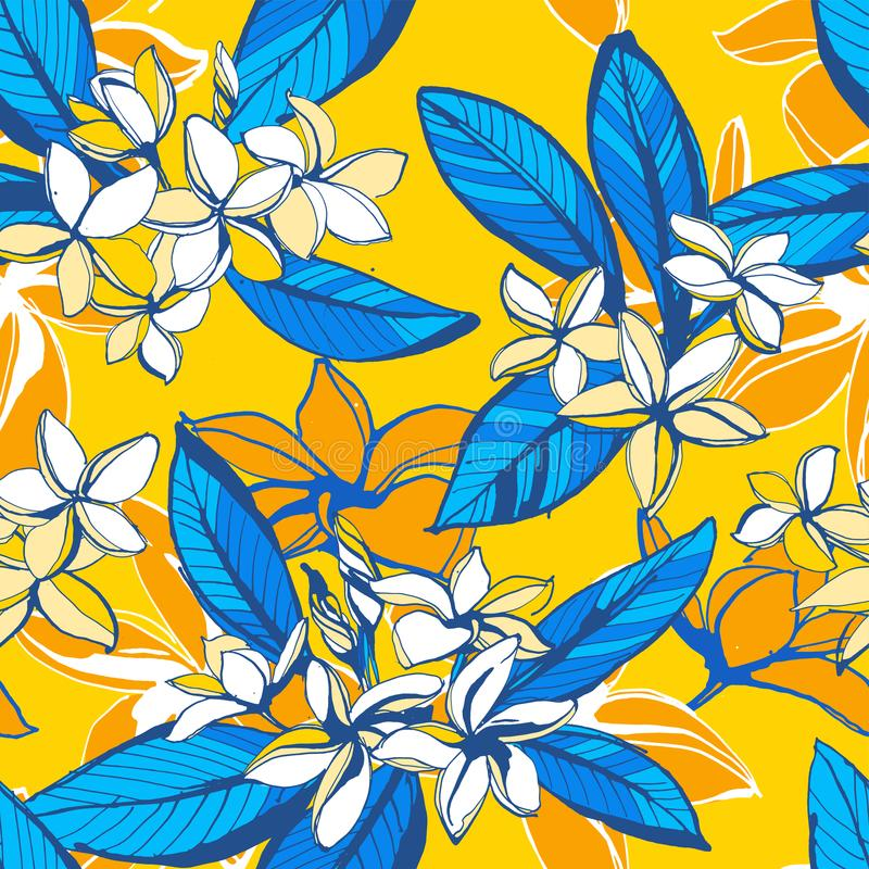 Tropical floral summer seamless pattern with plumeria flowers palm leaves vector illustration
