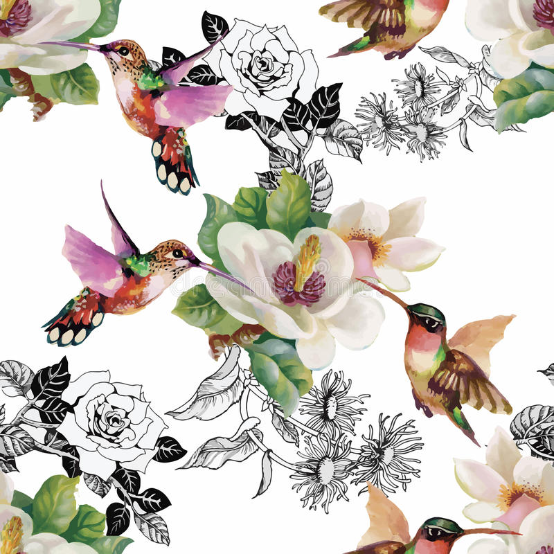 Tropical floral watercolor seamless pattern with colibris and flowers. Watercolor painting. stock illustration