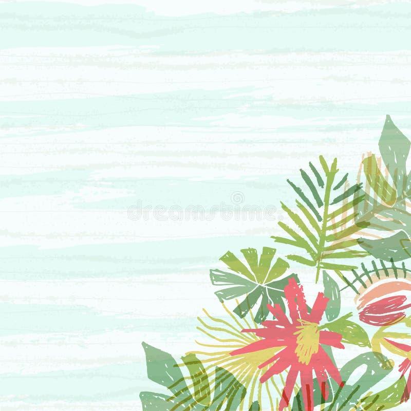 Tropical flower bouquet, blue aquarelle waves stock illustration