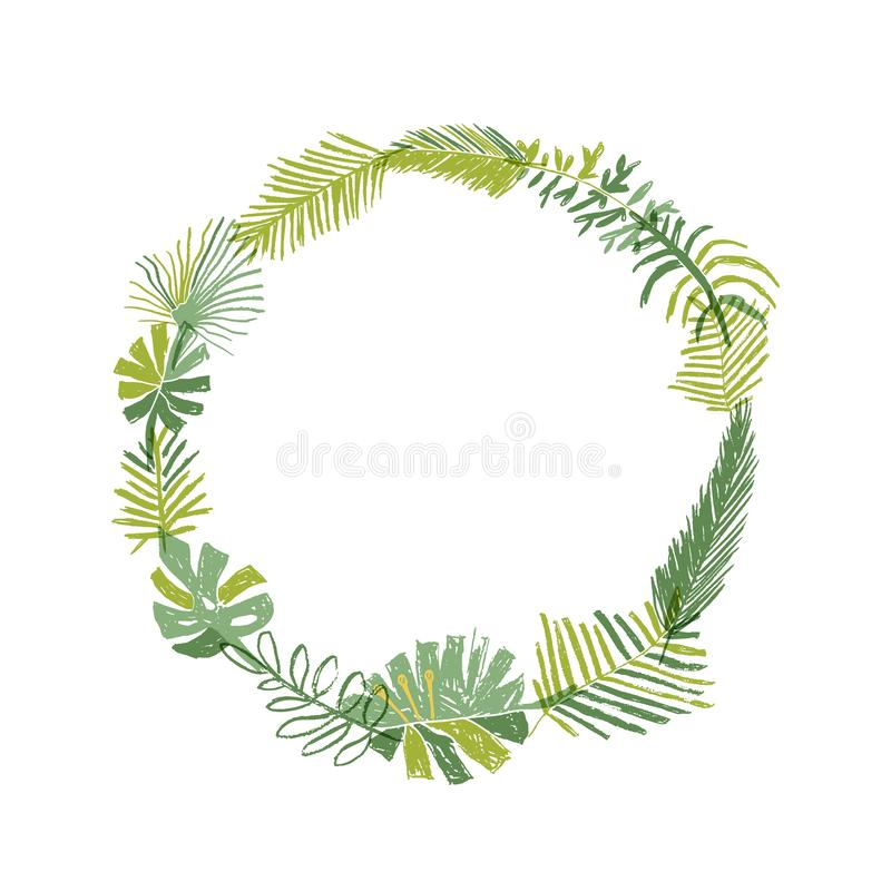 Free Tropical Flower, Circle Greenery Wreath Royalty Free Stock Image - 125582036