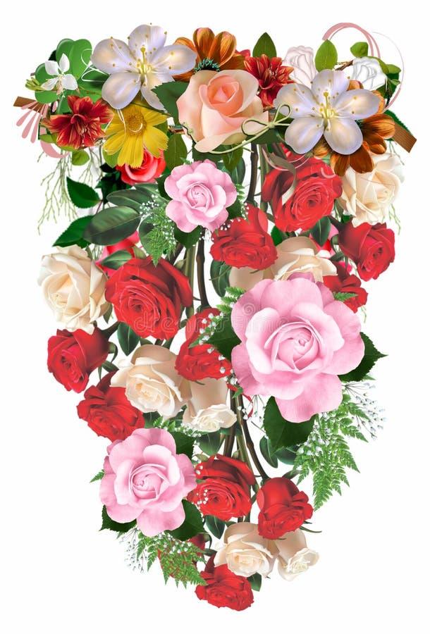 Flower tropical ornamen 36. Tropical flower decorations design ornaments pattern fresh color stock illustration