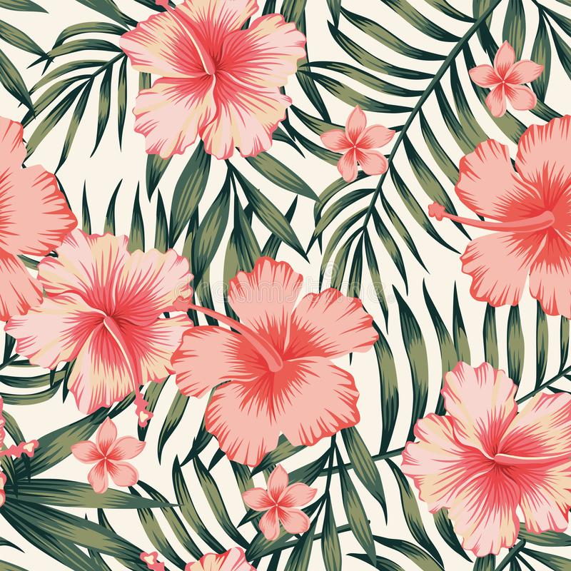 Download Hibiscus Pink Palm Leaves Dark Green Pattern Stock Vector