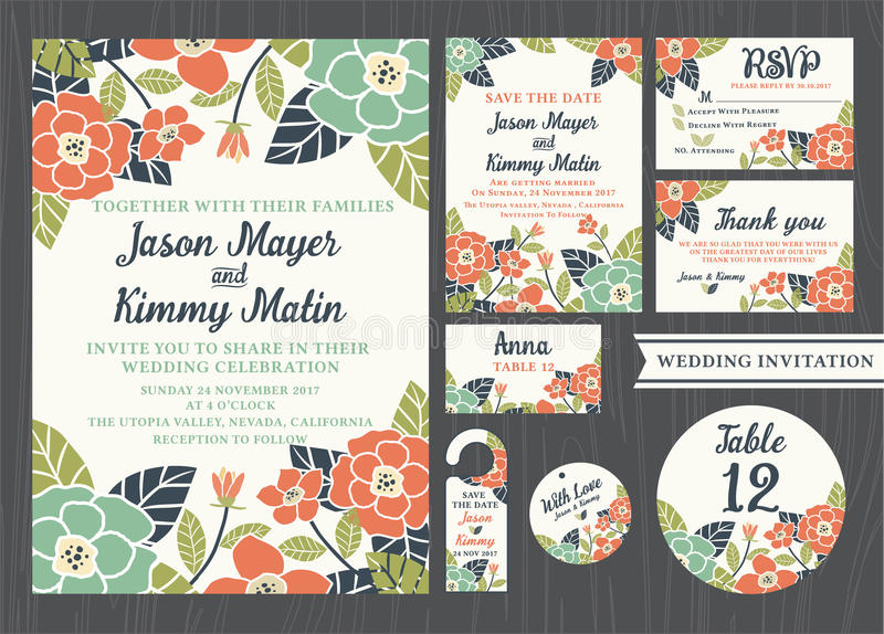 Tropical flower wedding invitation vintage design. Sets include Invitation card, Save the date, RSVP card, Thank you card, Table number, Gift tags, Place cards