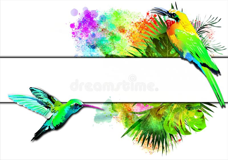 Tropical birds with a white banner on the background of multicolored paint splashes. stock illustration
