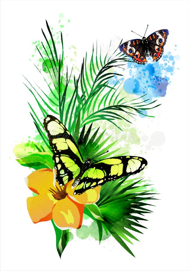 Tropical vegetation and butterflies on the background of multicolored paint splashes. stock illustration