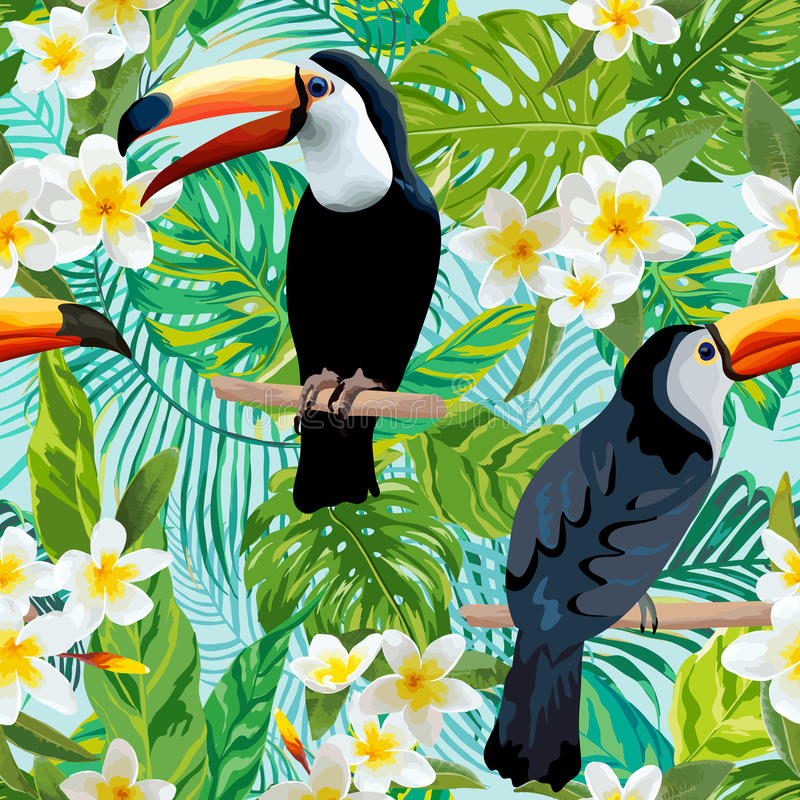 Vintage Style Tropical Bird And Flowers Background: Tropical Flowers And Birds Background. Toucan Bird Stock
