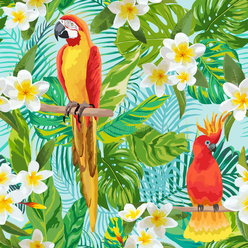 Tropical Flowers and Birds Background royalty free illustration