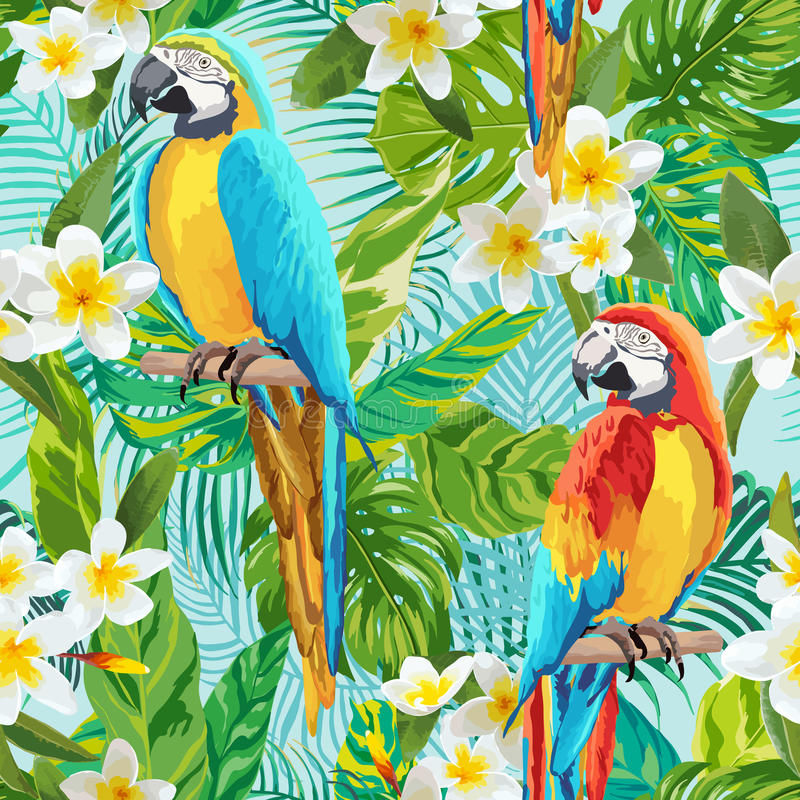 Tropical Flowers and Birds Background - Vintage Seamless Pattern royalty free illustration