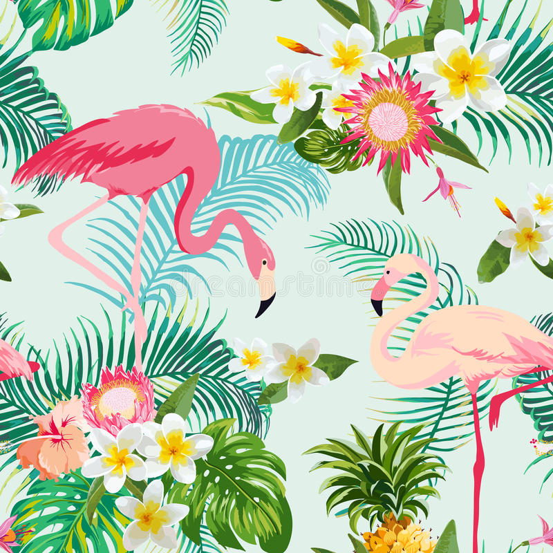 Tropical Flowers and Birds Background. Vintage Seamless Pattern. vector illustration