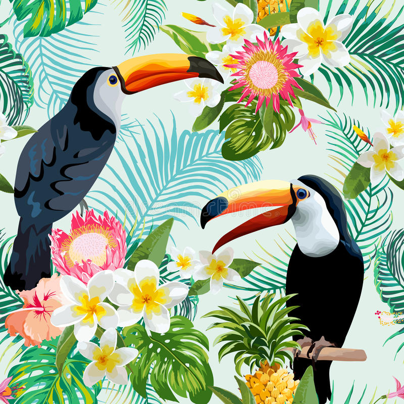 Vintage Style Tropical Bird And Flowers Background: Tropical Flowers And Birds Background Stock Vector
