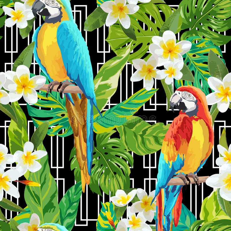 Vintage Style Tropical Bird And Flowers Background: Tropical Flowers And Birds Geometric Background