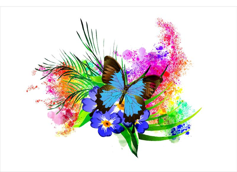 Butterfly with a flower on the background of rainbow splashes. Tropical flowers and butterflies for creating greeting cards, illustrations, artwork, etc