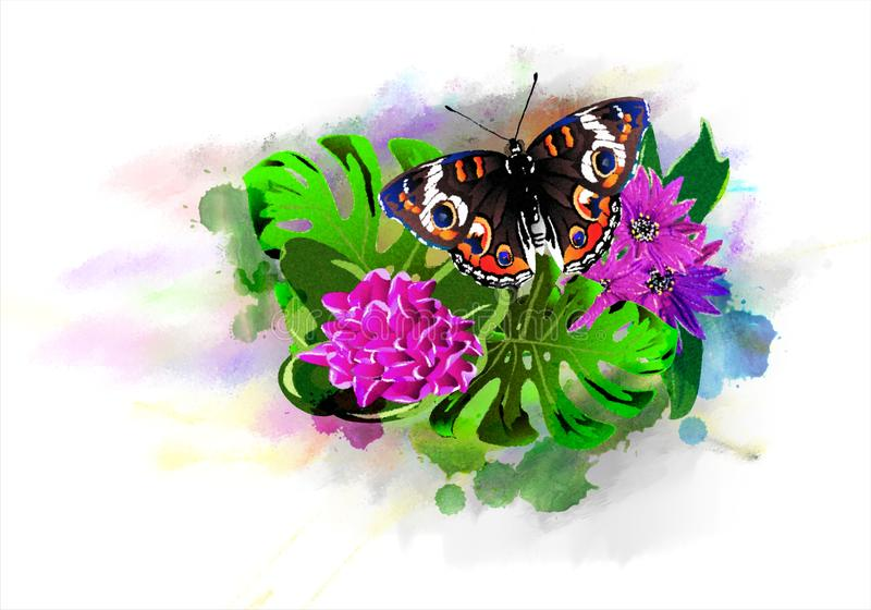 Bright butterfly with tropical flowers on colorful paint drops. stock illustration