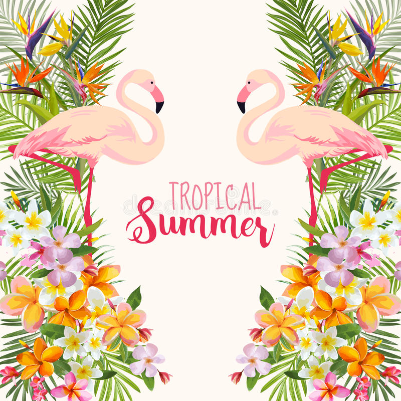 Vintage Style Tropical Bird And Flowers Background: Tropical Flowers. Flamingo Bird. Tropical Background Stock