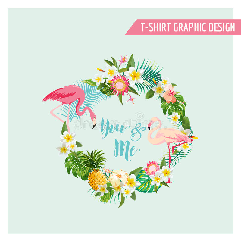 Tropical Flowers and Flamingo Wreath. For Wedding, Birthday, Baby Shower, Party, t-shirt graphic - in vector vector illustration