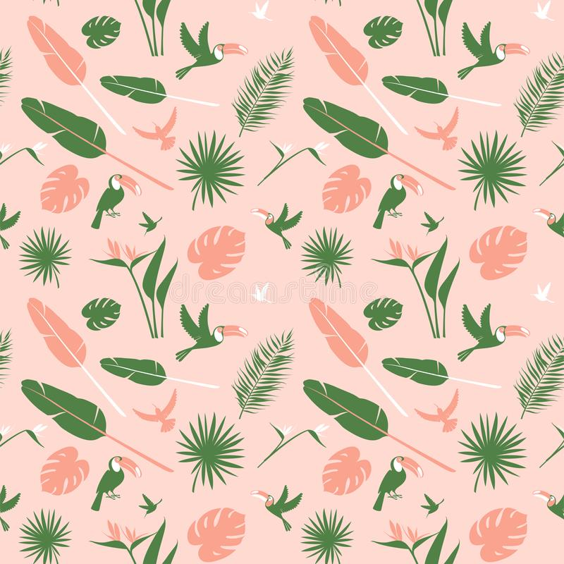 Seamless floral pattern background Tropical flowers, jungle palm leaves birds royalty free illustration