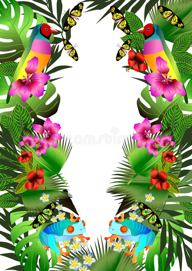 Download Tropical Flowers And Leaves Beautiful Butterfly Bird Fr Stock Vector