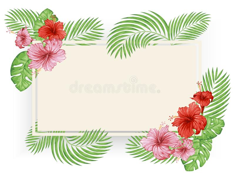 Tropical flowers and leaves. Colorful poster template, cards, invitations vector illustration