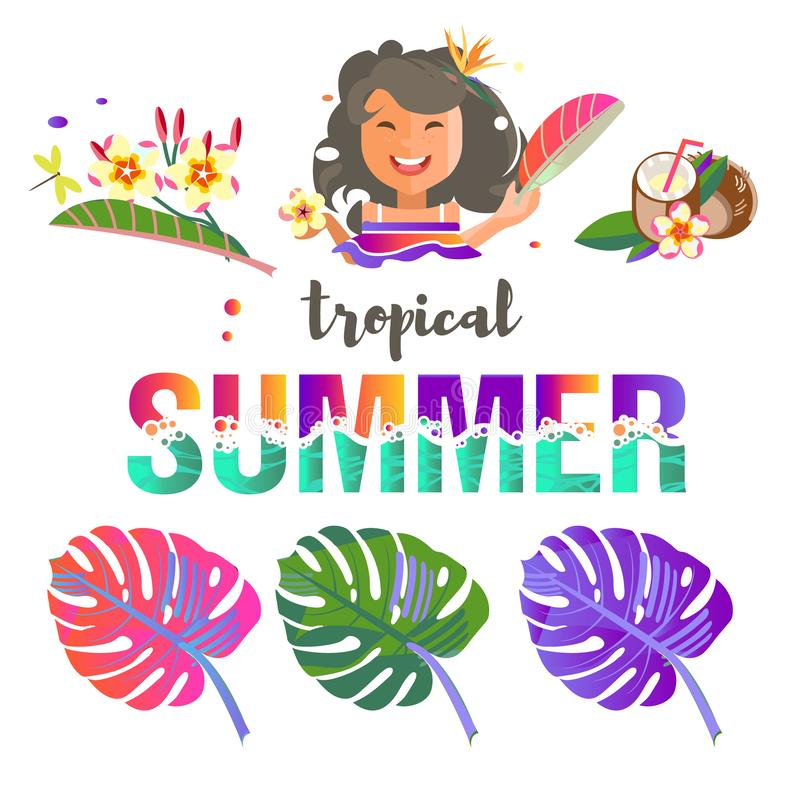 Tropical flowers and leaves. Exotic fruits. Caribbean colors. Design and pattern. Tropical style. Summer vacation at the sea. The girl is funny. Vector image vector illustration