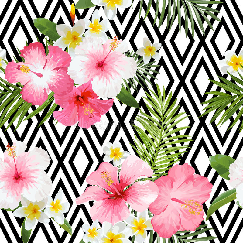 Tropical Flowers and Leaves Geometric Background stock illustration