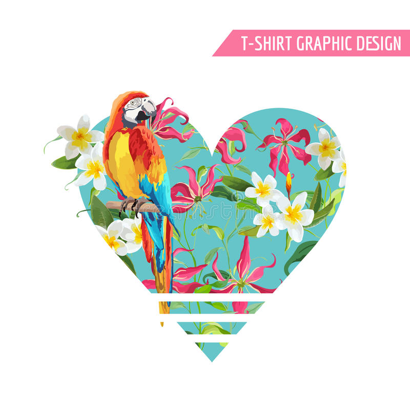 Tropical Flowers and Leaves, Parrot Bird Graphic Design. T-Shirt Fashion Prints. Vector Background. vector illustration