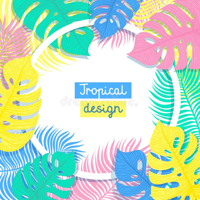 Tropical Flowers and Palms Summer Background with copy space. Flat style illustration in punchy pastels colors. Exotic vector illustration
