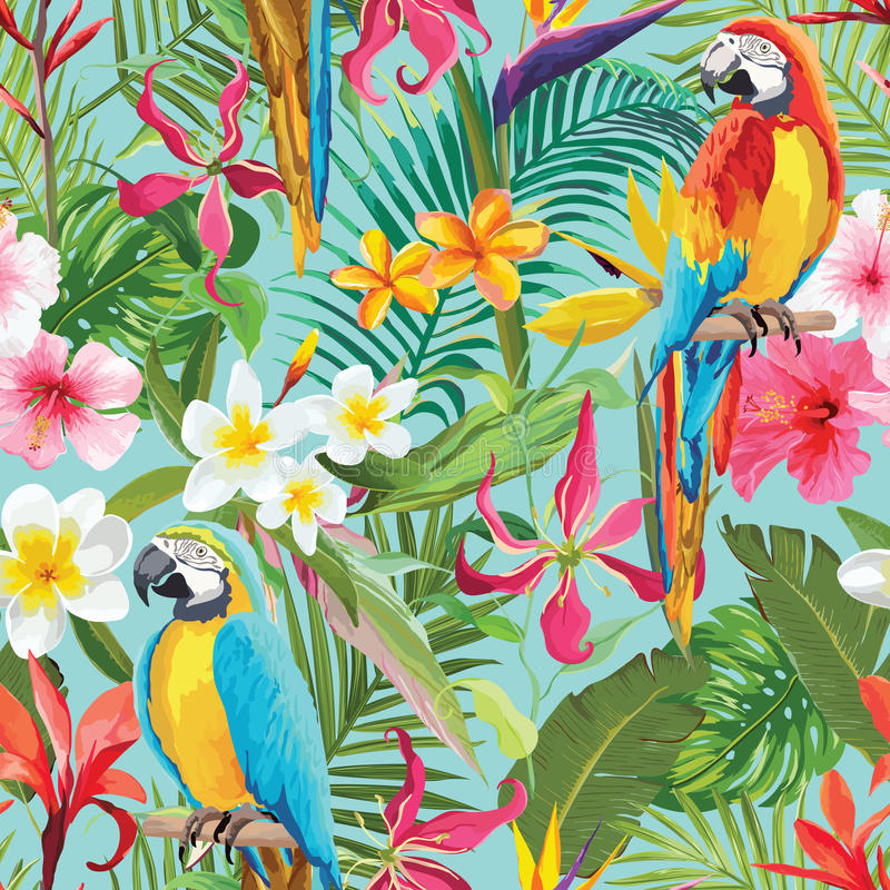 Tropical Flowers and Parrots Seamless Floral Summer Pattern stock illustration
