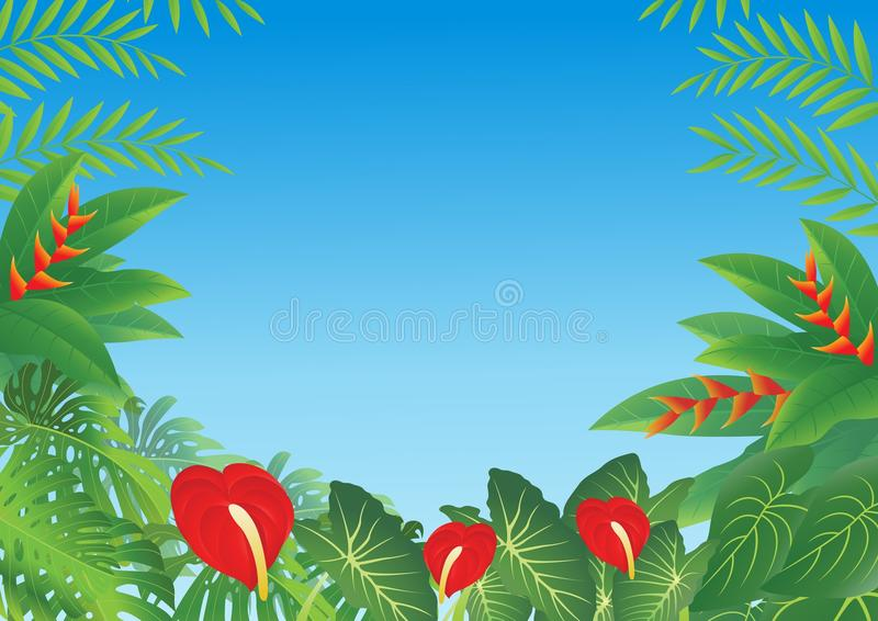 Tropical forest background stock illustration