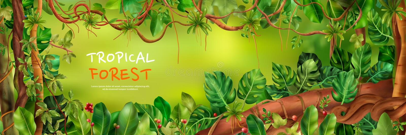 Tropical Forest Horizontal Poster royalty free stock image