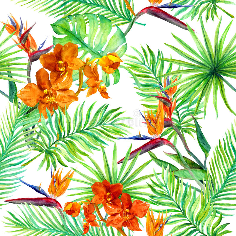 Tropical forest leaves, exotic flowers - wild orchid, bird flower. Seamless pattern. Watercolor stock illustration