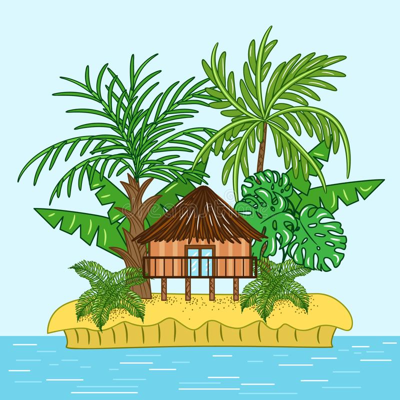 Bungalow house on tropical island stock illustration