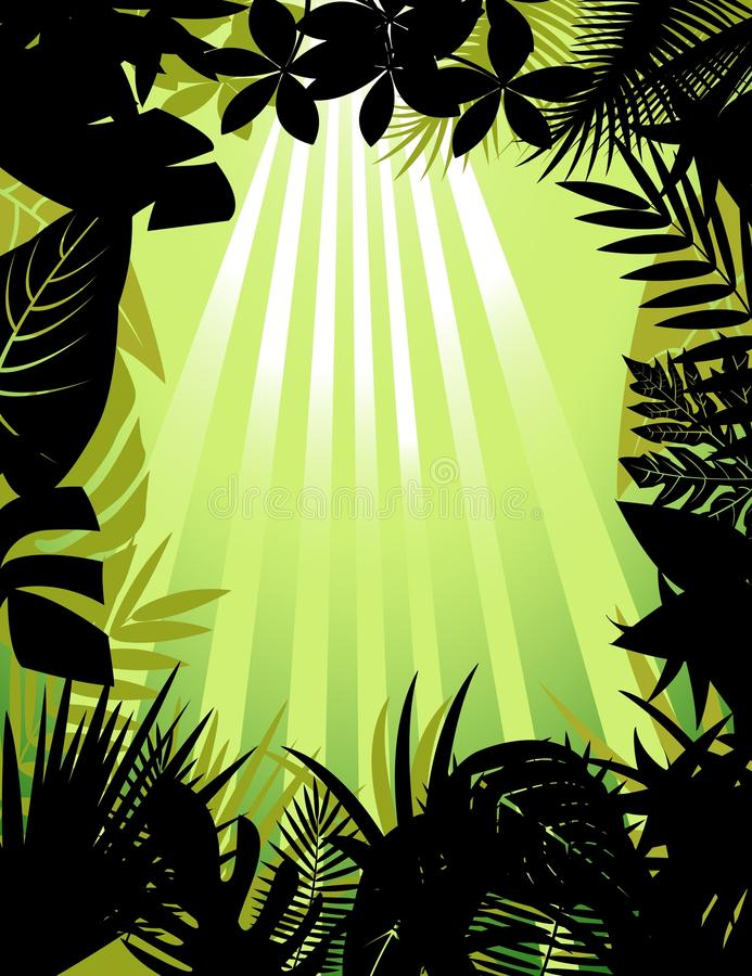 Tropical forest silhouette royalty free illustration