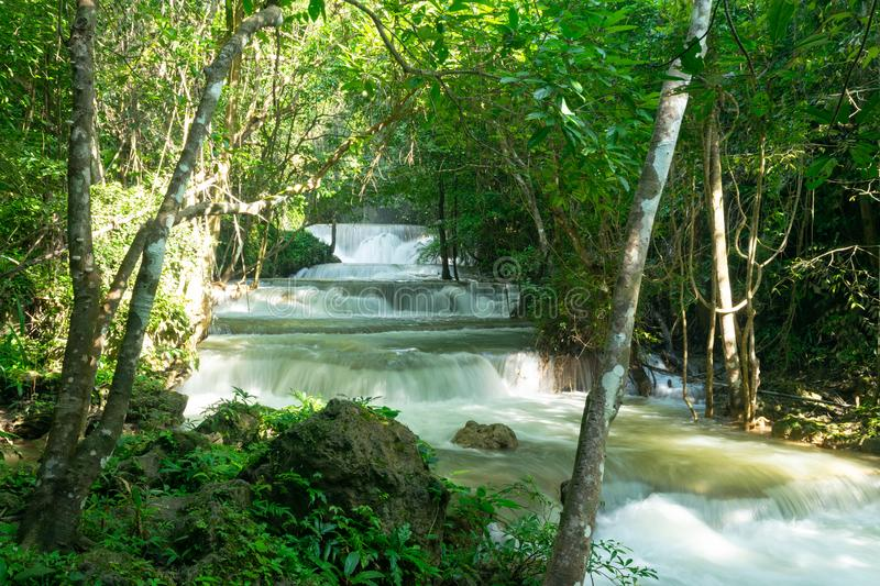 Tropical forest and water fall. In Huai Mae Khamin, Thailand royalty free stock image