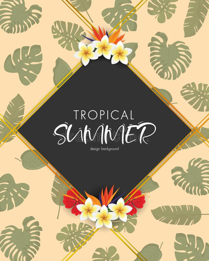 Tropical summer frame design background with exotic palm leaves and Hibiscus flowers stock photo