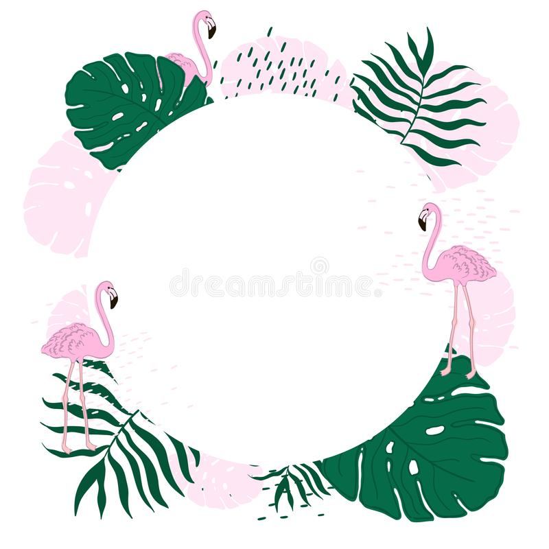 Tropical frame circle leaves and flamingo summer banner graphic download tropical frame circle leaves and flamingo summer banner graphic background exotic floral invitation stopboris Image collections