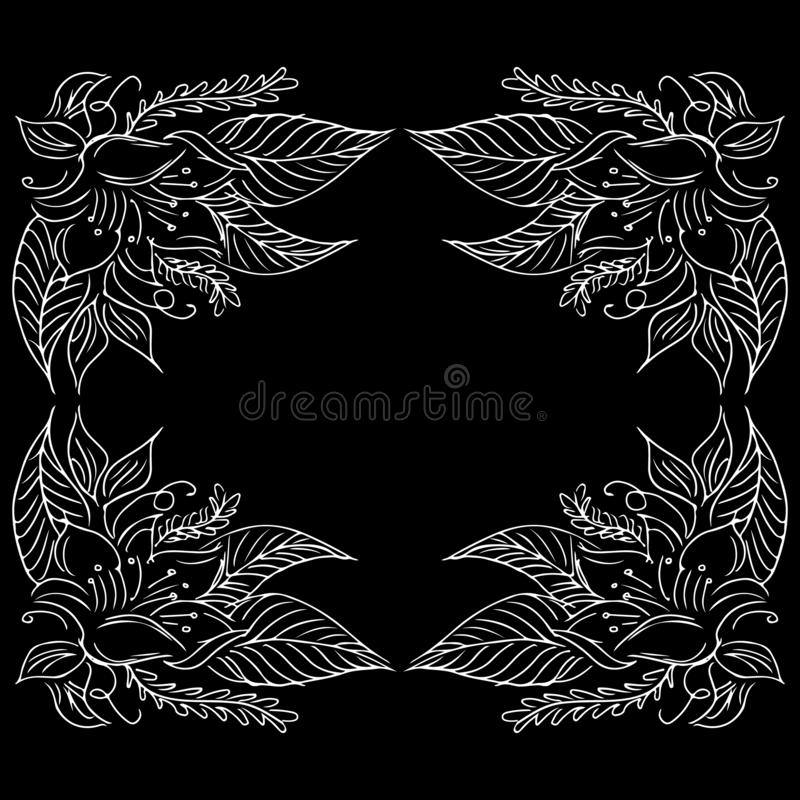 Tropical frame hand drawn. Jungle foliage illustration. Floral border. Hand drawing. Vector, isolated. Natural spring wedding card. Summer tropical leaf vector illustration