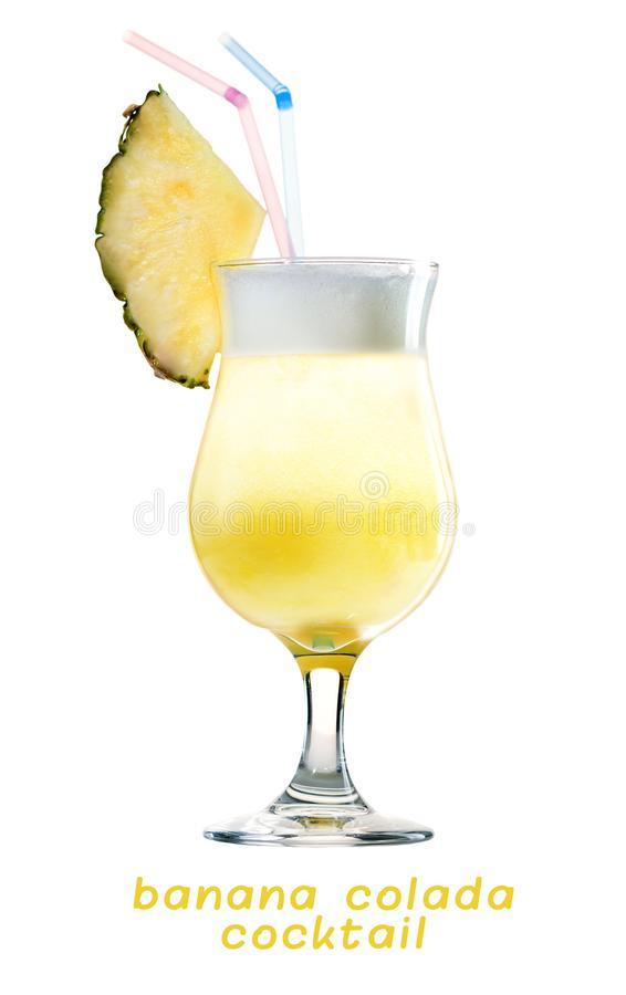 Tropical fresh tasty cold Banana Colada cocktail with pineapple royalty free stock photos