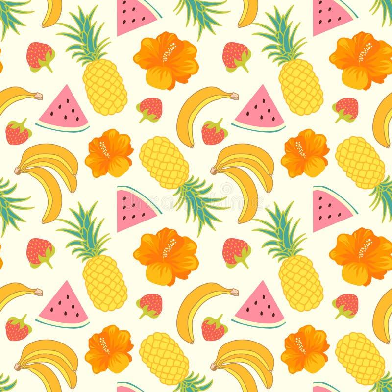 Tropical fruit background vector illustration