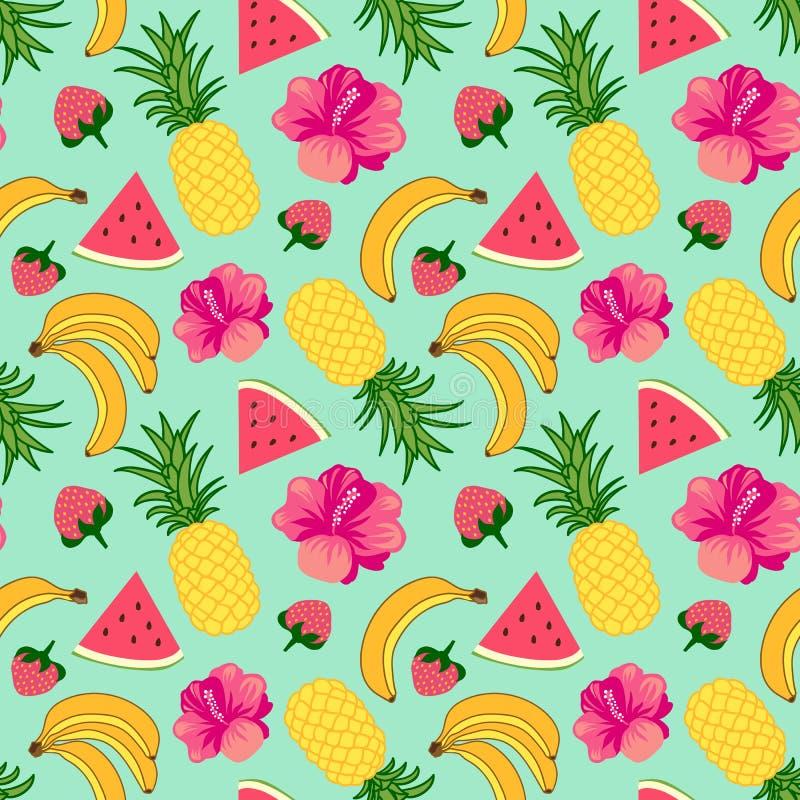 Tropical fruit background royalty free illustration