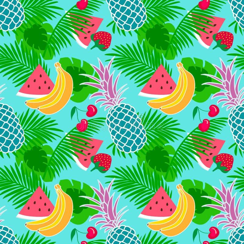 Tropical fruit background stock illustration